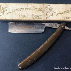 Antiguidades: ANTIGUA NAVAJA / FILARMÓNICA - DOBLE TEMPLE Nº 14 / CON SU CAJA / JOSÉ MONTSERRAT POU. Lote 275470623