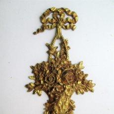 Antigüedades: GRAN EMBELLECEDOR DE BRONCE PARA RESTAURAR MUEBLE ANTIGUO CON BONITO GRABADO ART NOUVEAU. Lote 275928163