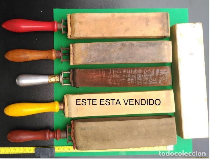 Antigüedades: SUAVIZADOR, ASENTADOR o AFILADOR de cuero para navajas de afeitar, barbero - Foto 4 - 276064808