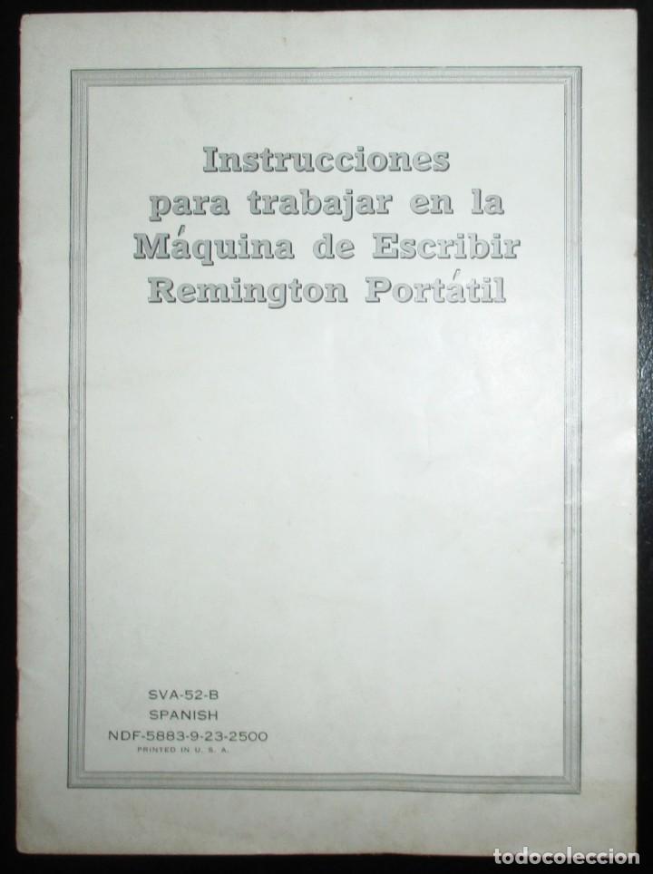 MANUAL DE INSTRUCCIONES DE USO DE LA MÁQUINA DE ESCRIBIR REMINGTON PORTÁTIL. EN ESPAÑOL. (Antigüedades - Técnicas - Máquinas de Escribir Antiguas - Remington)