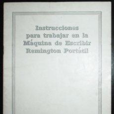 Antigüedades: MANUAL DE INSTRUCCIONES DE USO DE LA MÁQUINA DE ESCRIBIR REMINGTON PORTÁTIL. EN ESPAÑOL.. Lote 276374443