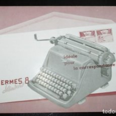 Antigüedades: CATÁLOGO DESPLEGABLE DE LA MÁQUINA DE ESCRIBIR HERMES 8 STANDARD. ORIGINAL DE 1959. EN FRANCÉS.. Lote 276543963
