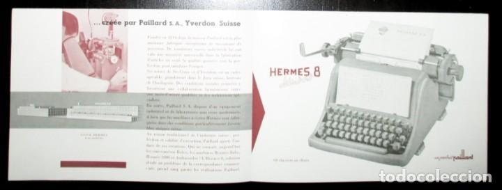 Antigüedades: CATÁLOGO DESPLEGABLE DE LA MÁQUINA DE ESCRIBIR HERMES 8 STANDARD. ORIGINAL DE 1959. EN FRANCÉS. - Foto 2 - 276543963