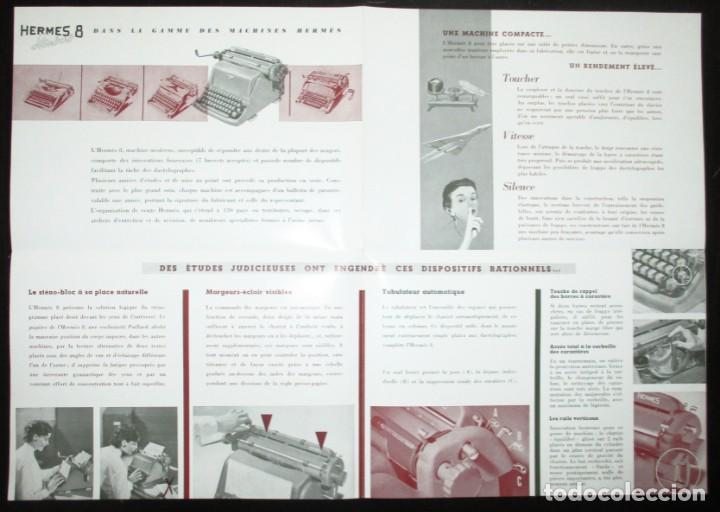 Antigüedades: CATÁLOGO DESPLEGABLE DE LA MÁQUINA DE ESCRIBIR HERMES 8 STANDARD. ORIGINAL DE 1959. EN FRANCÉS. - Foto 3 - 276543963
