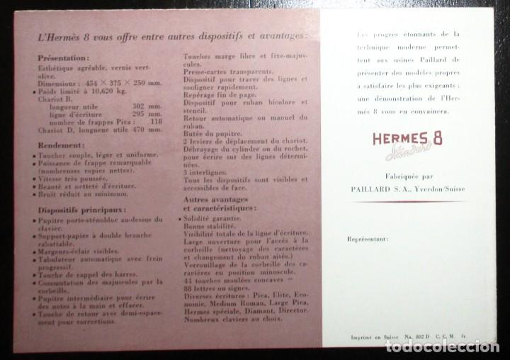 Antigüedades: CATÁLOGO DESPLEGABLE DE LA MÁQUINA DE ESCRIBIR HERMES 8 STANDARD. ORIGINAL DE 1959. EN FRANCÉS. - Foto 4 - 276543963