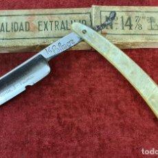 Antigüedades: NAVAJA DE AFEITAR PALMERA. ACERO TEMPLADO. Nº 14. VACIADOS ROFRIGUEZ. CIRCA 1940.. Lote 277015143