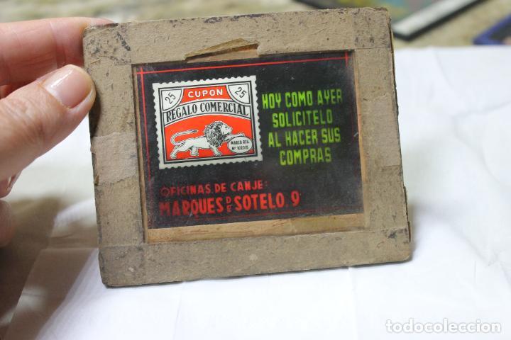 DIAPOSITIVA DE CRISTAL Nº 1 CUPON COMERCIAL, ROLDOS & GISBERT DE PUBLICIDAD, VALENCIA (Antigüedades - Técnicas - Aparatos de Cine Antiguo - Linternas Mágicas Antiguas)