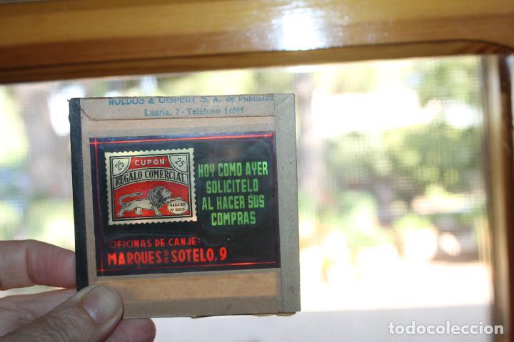 DIAPOSITIVA DE CRISTAL Nº 3 CUPON COMERCIAL, ROLDOS & GISBERT DE PUBLICIDAD, VALENCIA (Antigüedades - Técnicas - Aparatos de Cine Antiguo - Linternas Mágicas Antiguas)