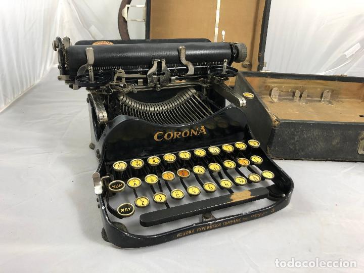 Antigüedades: Antigua maquina de escribir Corona Typewriter company, 3, portatil plegable. con caja original. - Foto 2 - 277738138