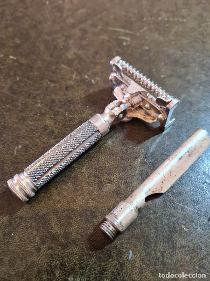 Antigüedades: Magnífica maquinilla de afeitar WILKINSON, con 7 cuchillas, una para dia de la semana, original. - Foto 8 - 278163603