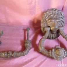 Antigüedades: ANTIGUO Y MAGNIFICO ALDABON EN HIERRO COLADO(FUNDICION)CABEZA DE LEON Y TIRADOR.PRECIOSO CONJUNTO.. Lote 278166793