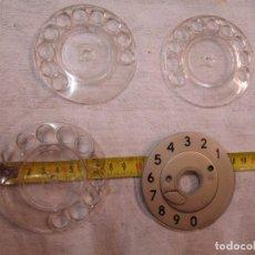 Teléfonos: TELEFONO - LOTE 3 DISCOS DE NUMERAL MARCAR Y UNA PLANTILLA FIJA APROX 1960+ INFO. Lote 278267803