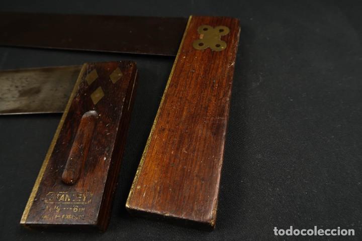 Antigüedades: Lote Dos Antiguas Escuadras Inglesas de Hierro Madera y Bronce - Foto 4 - 278498993