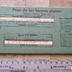 Antigüedades: REGLA DE CALCULO PESO DE LOS HIERROS PLANOS, REDONDOS Y HEXAGONALES. Lote 278811183