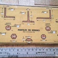 Antigüedades: REGLA DE CALCULO TABLA-HIERROS-PLETINAS-PALASTROS-CUADRADOS-CHAPAS. PERFILES DE HIERRO. Lote 278815133