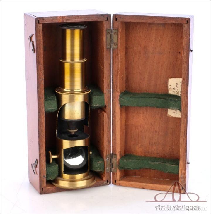 Antigüedades: Pequeño Microscopio de Tambor Francés. Circa 1890 - Foto 8 - 279524973