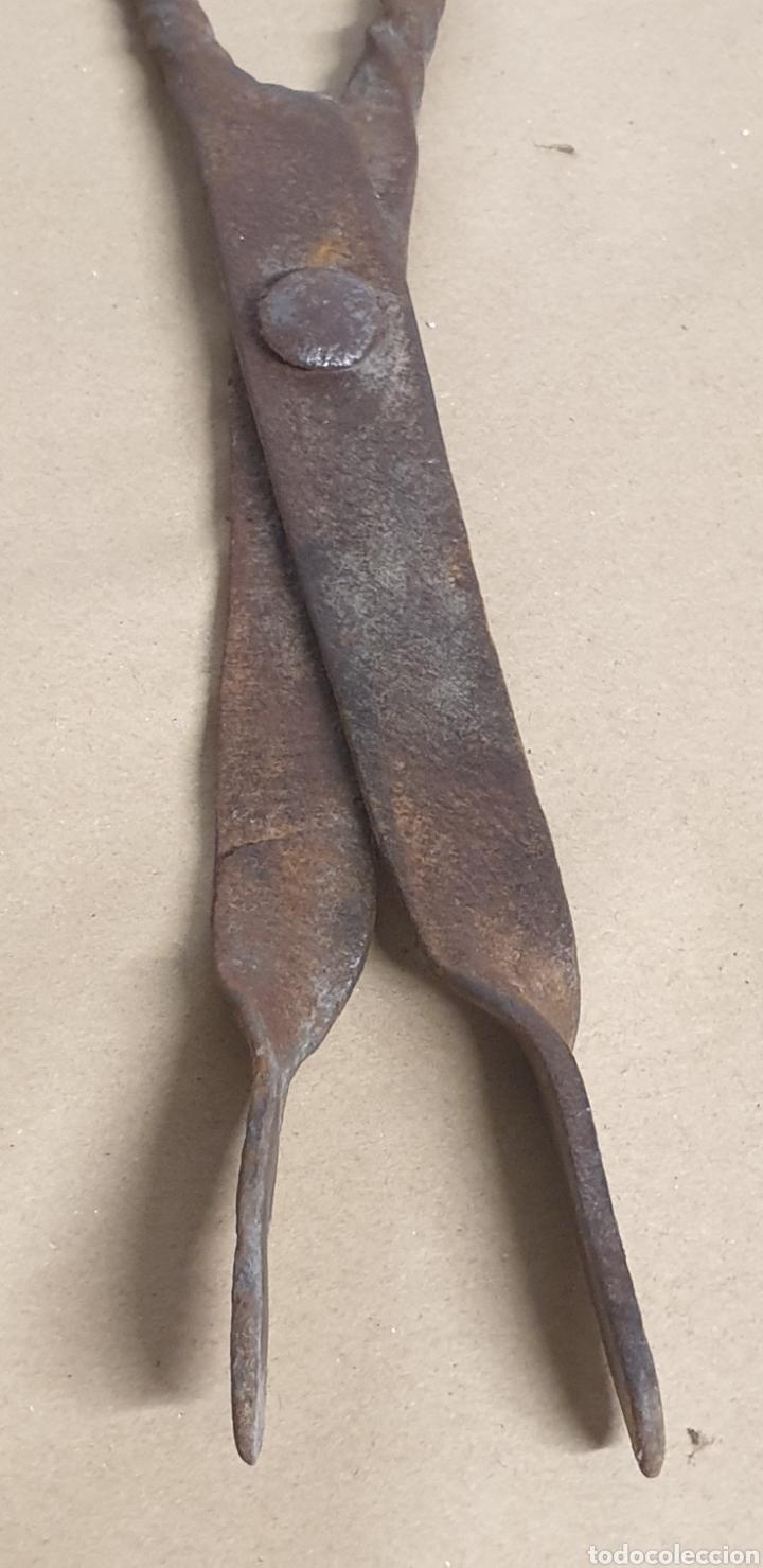Antigüedades: Pinzas tenazas y pala de hierro forjado para brasero o fuego bajo - Foto 9 - 280377633