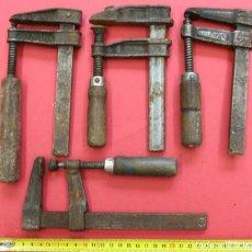 Antigüedades: LOTE DE 4 SARGENTO GATO - MORDAZAS DE CARPINTERO. Lote 283073618
