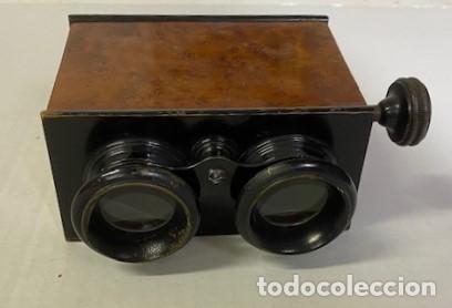 ANTIGUO VISOR ESTEREOSCÓPICO - MADERA DE CALIDAD - FUNCIONANDO (Antigüedades - Técnicas - Aparatos de Cine Antiguo - Visores Estereoscópicos Antiguos)
