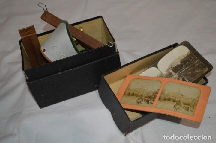 Antigüedades: Antiguo/vintage / Visor Estereoscópico + 2 VISTAS / En caja - ¡Funcionando, estado IMPECABLE, MIRA! - Foto 2 - 284365088