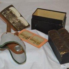 Antigüedades: ANTIGUO/VINTAGE / VISOR ESTEREOSCÓPICO + 2 VISTAS / EN CAJA - ¡FUNCIONANDO, ESTADO IMPECABLE, MIRA!. Lote 284365088