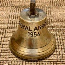 """Antigüedades: ANTIGUA CAMPANA DEL BARCO """" ROYAL ARROW """""""" AÑO 1954- 7 KILOS -BRONCE MACIZO.!!. Lote 285247698"""