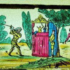 Antiguidades: ANTIGUO CRISTALES LINTERNA MAGICA S. XIX PINTADOS A MANO FRANCIA LAPIERRE DON QUIJOTE LOTE CON CAJA. Lote 286406678