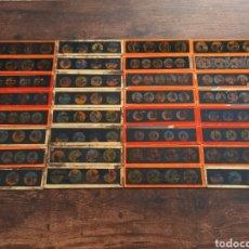 Antigüedades: LOTE COLECCIÓN DE 32 ANTIGUOS CRISTALES COLOREADOS PARA LINTERNA MÁGICA. Lote 286423743
