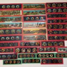 Antigüedades: LOTE COLECCIÓN DE 33 CRISTALES COLOREADOS PARA LINTERNA MÁGICA ANTIGUOS. Lote 286616533