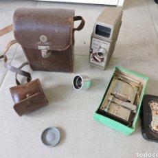 Antigüedades: CAMARA CINE BELL,FUNDA,ENCOLADORA Y OBJETIVO. Lote 286683118
