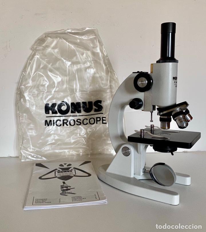 MICROSCOPIO KONUS COLLEGE 5302-MANUAL Y FUNDA DE PLASTICO (Antigüedades - Técnicas - Instrumentos Ópticos - Microscopios Antiguos)
