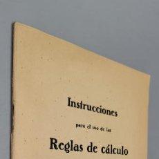 Antigüedades: INSTRUCCIONES PARA EL USO DE LAS REGLAS DE CALCULO CASTELL. A. W. FABER. Lote 287545053