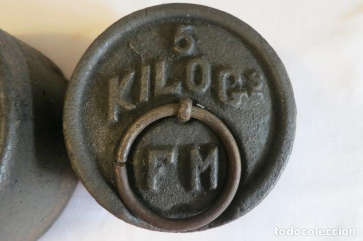 Antigüedades: pesas de 10 y 5 kilos F M selladas y contrastadas - Foto 3 - 288011858