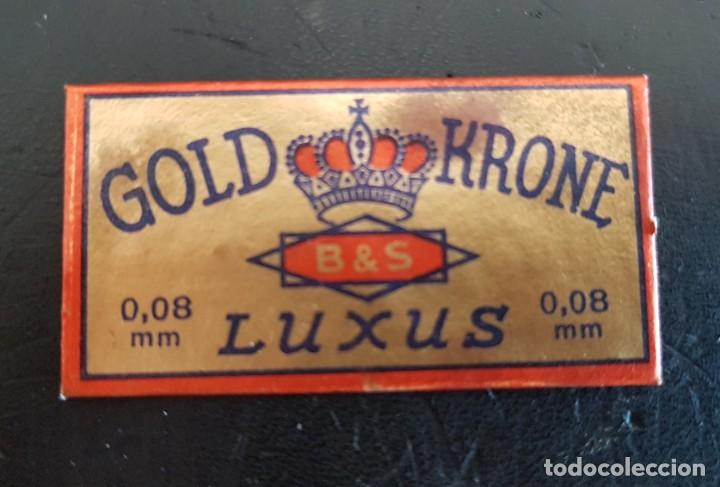 HOJA DE AFEITAR ANTIGUA GOLD KRONE. FUNDA + HOJA. PERFECTA (Antigüedades - Técnicas - Barbería - Hojas de Afeitar Antiguas)