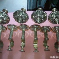 Antigüedades: LOTE 6 SOPORTES Y 4 REMATES CORTINAS LATON DORADO. Lote 288227318