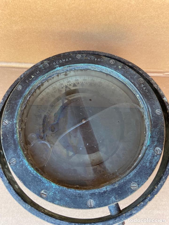 Antigüedades: Antiguo y original compás náutico de bitácora. Madrid Hamburgo, PLATH GEOMAR - Foto 2 - 288331288