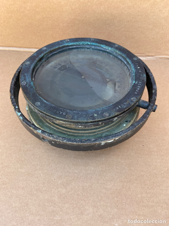 Antigüedades: Antiguo y original compás náutico de bitácora. Madrid Hamburgo, PLATH GEOMAR - Foto 17 - 288331288
