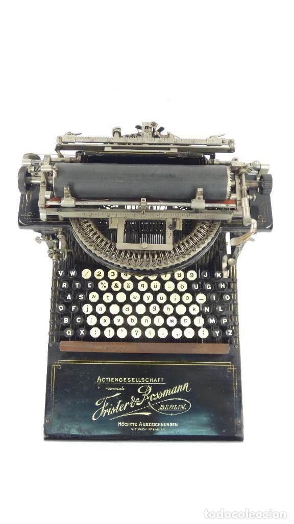 Antigüedades: Máquina de escribir FRISTER & ROSSMANN AÑO 1904 Typewriter Schreibmaschine A Ecrire - Foto 3 - 288549438