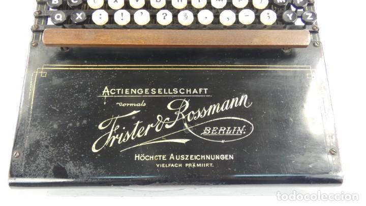 Antigüedades: Máquina de escribir FRISTER & ROSSMANN AÑO 1904 Typewriter Schreibmaschine A Ecrire - Foto 4 - 288549438