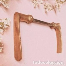 Antigüedades: PAREJA DE MANETAS TIRADOR ANTIGUOS DE BRONCE ANTIQUE UNIQUE. Lote 288882878