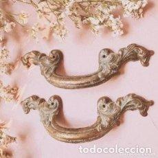 Antigüedades: PAREJA DE ANTIGUOS TIRADORES DE BRONCE ANTIQUE UNIQUE. Lote 288889083