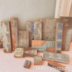 Antigüedades: LOTE DE GRANDES PLANCHAS DE IMPRENTA ANTIQUE UNIQUE. Lote 288949513