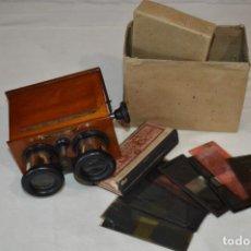 Antigüedades: VISOR UNIS-FRANCE - MANUEL QUINTAS - PHOTOS MADRID + CAJA CON CRISTALES/VISTAS - BUEN ESTADO ¡MIRA!. Lote 289333693