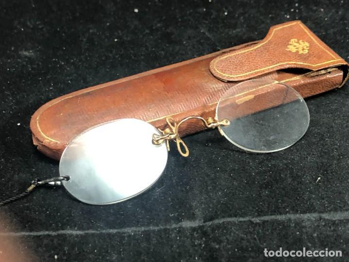 GAFAS ANTIGUAS DE COLECCIÓN, MONTURA DE ORO 12 K, SIGLO XIX, ESTUCHE DE PIEL. TIPO QUEVEDO (Antigüedades - Técnicas - Instrumentos Ópticos - Gafas Antiguas)