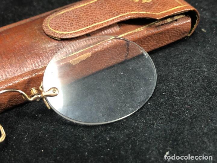Antigüedades: Gafas antiguas de colección, montura de oro 12 K, siglo XIX, estuche de piel. Tipo Quevedo - Foto 6 - 289538323