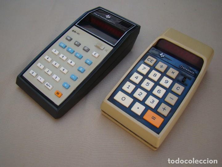 ANTIGUAS CALCULADORAS TEXAS INSTRUMENTS SR-11 Y DATAMATH 2500 LEDS ROJOS 1973 (Antigüedades - Técnicas - Aparatos de Cálculo - Calculadoras Antiguas)