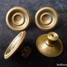 Antigüedades: LOTE 4 TIRADORES DE BRONCE. 3 CM. USADOS. CAJONES, PUERTAS, MUEBLES. Lote 289748438