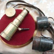 Antigüedades: CATALEJO NAVAL ANTIGUO 4 TRAZOS, CON FUNDA, FIRMADO POR M.WOERLE & KORLRUB. ( MUNCHEN). 20CM. Lote 289783968