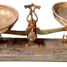Antigüedades: ANTIGUA BÁSCULA, BALANZA, PESO DE HIERRO Y BRONCE. J. MENAYA FUERZA, VALENCIA.33X17X12. Lote 290718188