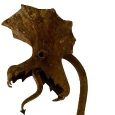 Antigüedades: ANTIGUA GÁRGOLA, DRAGÓN, SER MITOLÓGICO.GÓTICO DE HIERRO FORJADO. 45X18X16. Lote 290804568